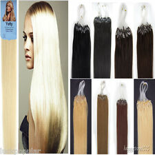 Brand Remy Human Hair Extensions Loop Silicone Micro Rings Beads Tip 16-26''100S