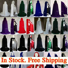 MEDIEVAL Hooded Cloak Coat velvet Cape Shawl Halloween Wedding Stock Size S-XXL