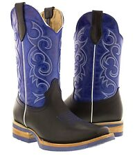 women's black blue western leather cowboy boots rodeo cowgirl ladies square toe