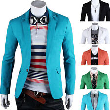 HOT 6 Colors New Stylish Men Slim Fit One Button Blazer Coat Jacket Formal Suits