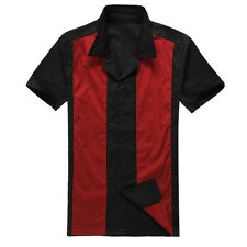 american vintage hot rod men's bowling shirts red black rockabilly swing party