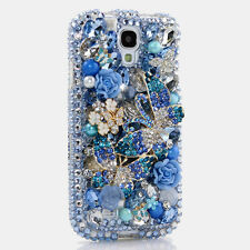 FOR SAMSUNG GALAXY S6 NOTE 5 CRYSTALS BLING CASE COVER BLUE BUTTERFLY HANDMADE