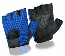 WEIGHT LIFTING PADDED MESH LEATHER GLOVES FITNESS TRAINING CYCLING BIKE BICYCLE