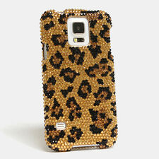 FOR SAMSUNG GALAXY S6 NOTE 5 CRYSTALS BLING CASE COVER BLACK GOLD LEOPARD DESIGN