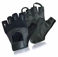 GEL PADDED PERFORATED LEATHER GLOVES CYCLING BIKE BICYCLE RIDING WEIGHT LIFTING