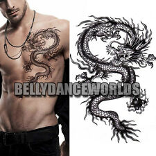 LARGE BLACK DRAGON ARM LEG BODY ART TATTOO TEMPORARY MAN MEN STICKER WATERPROOF