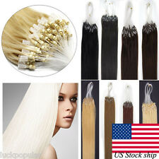 Easy Micro Loop Ring Beads Tip 100% Remy Human Hair Extensions 18Inch 100S 200S