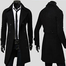 Warm Mens Slim Trench Coat Winter Long Jacket Double Breasted Peacoat Overcoat