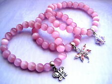 YOU PICK Pink Cats Eye Beaded Bracelet w Silver Butterfly or Dragonfly Charm
