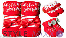 Santa Baby Xmas Socks Girls Red xmas Christmas Booties socks in Organza Gift Bag