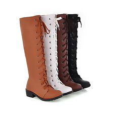 Ladies Synthetic leather Womens Lace Up Riding Knee High Boots Shoes US CHH472