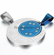 Roman Numerals W/ Compass Pendant His and Hers Couple Stainless Steel Necklaces