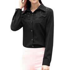 Women Point Collar Long Sleeves Lace Panel Leisure Button Down Shirts