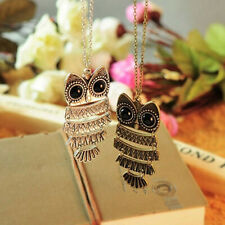 Fashion Women Jewelry Retro Bronze Owl Style Long Sweater Chain Necklace Pendant