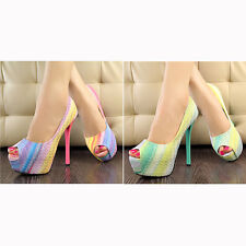 mt88 Womens Peep Toe Stiletto High Heel Platform Pumps Party Club Rainbow Shoes