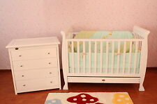 SLEIGH BABY/INFANT WOODEN COT PACKAGE  COT/CRIB,CHEST OF DRAWER , MAT & MATTRESS