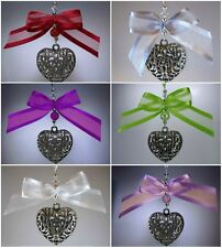 Xmas Tree Decoration - Silver  Heart - Beads Pearls & Bows with Swarovski
