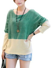 Lady Pullover Long Batwing Sleeve Colorblock Knit Shirt