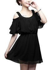 Lady Layered Flouncing Sleeve Cut Out Shoulder Round Neck Dress