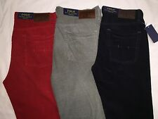 NEW WITH TAGS POLO RALPH LAUREN MENS STRAIGHT 650 CORDUROY PANTS-RED/GRAY/NAVY'