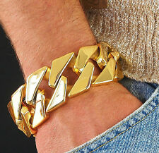 307g SUPER BIG Gold Plated Men Stainless Steel Heavy Weight Wide Bracelet no95