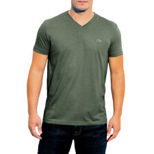 LACOSTE MEN'S SHORT SLEEVE V NECK PIMA COTTON TEE REGULAR FIT T-SHIRT PAMPA GREE