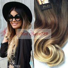 7A European Virgin Ombre Blonde Clip In Hair Extension Full Head Clip Hair Wavy