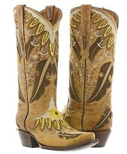Womens Sand Beige Leather Cowboy Cowgirl Boots Western Feathers Plumas Wings