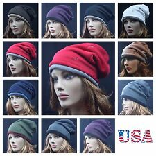 New Unisex Mens Womens 2PLY Baggy Beanie Vintage Trendy Oversize Fashion Hat