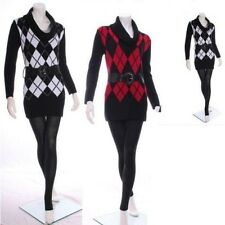 Womens Ladies Jumper Dress Style Cowl Neck Long Knitted Top With Belt size 8-14