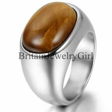 Mens Silver Stainless Steel Cool Artificial Tiger Eye Stone Ring Band Size 7-13