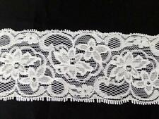 "10 /50 /100  white / black Stretch floral scalloped lace trim 2 1/4"" s5-1"