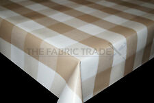 WIPE CLEAN XXL BEIGE GINGHAM PVC TABLECLOTH VINYL OILCLOTH FABRIC COVERING