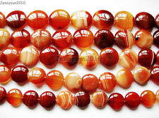 Red Carnelian Natural Agate Gemstone Round Coin Loose Beads 15'' Inches Strand