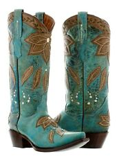 Womens Turquoise Summer Leather Cowboy Cowgirl Boots Western Rodeo Leaves Fall