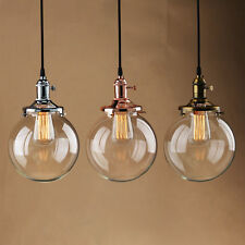 Vintage Industrial Pendant Light Glass Globe Shade Ceiling Lamp with Edison Bulb