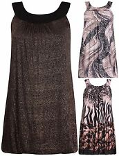 Womens Plus Size Animal Floral Print Ladies Sleeveless Lined Puff Long Vest Top