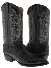 Mens Black Crocodile Alligator Back Cut Western Cowboy Leather Boots Rodeo
