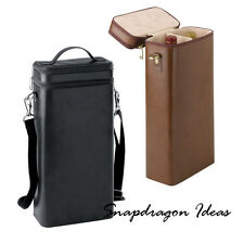 SnapdragonIdeas Bonded Leather Double Bottle Wine Carrier with Detachable Strap