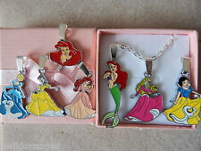 Disney Princess Necklace Silver Plated Gift Box or Gift Bag Ariel Belle Snow Whi