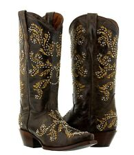 Women's Brown Beige Malaga Western Leather Cowboy Boots Cowgirl Rodeo Studs New