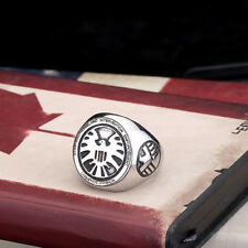 Fashion Mens Jewelry S.H.I.E.L.D. Logo 316L Stainless Steel Ring Sz 7-13