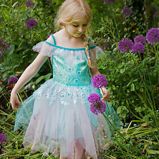 GIRLS KIDS CHILDRENS AQUA FOREST WOODLAND SPRING FAIRY DRESS COSTUME AGE 3-5-7-9