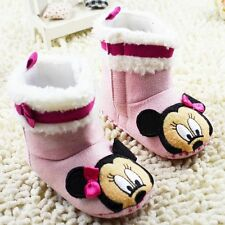Cute Baby Girl Minnie Mouse Pink Disney Snow Boots Shoes Pre Walkers