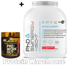 PhD Synergy 2kg Iso 7 + Optimum Nutrition Pre Workout 330g Sale On £46.99