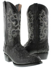 Men's black round crocodile alligator head western cowboy exotic leather boots