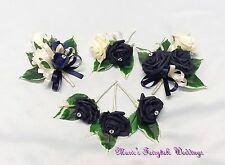 WEDDING FLOWERS NAVY BLUE ROSES GROOM GUEST BUTTONHOLE LADIES CORSAGE PACKAGE