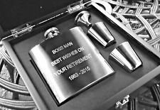 Engraved Personalised 6oz Kidney Stainless Steel Hip Flask & Cups Wooden Box Set