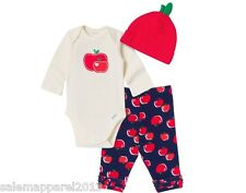 GERBER BABY GIRL 3-Piece Set Onesie, Pants and Cap Baby Shower Gift Baby Clothes