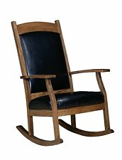 Amish Handcrafted Solid Wood Rocking Chair Rocker Upholstered Padded Back